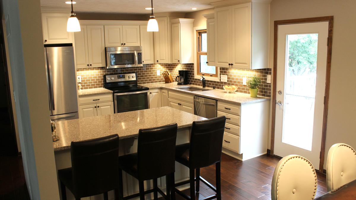 russellremodel kitchen remodeling lincoln ne Stunning White Kitchen Living Area